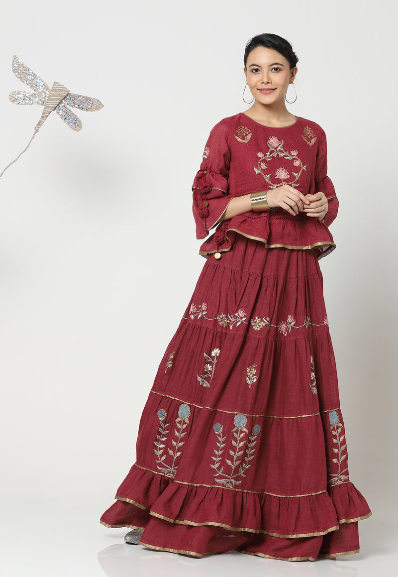 PARCHINKARI MUMTAZ TOP & SKIRT WINE-Top and Skirt-KAVERi