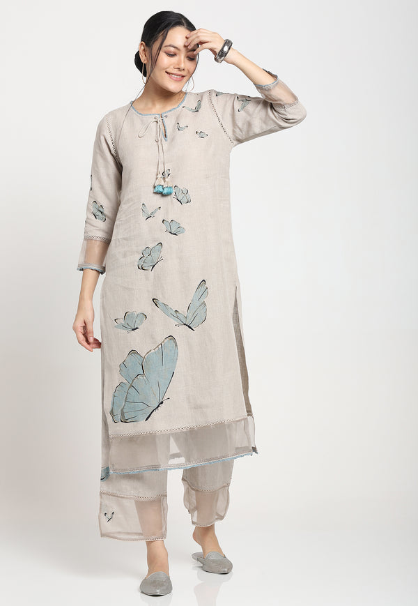 BUTTERFLY GARDEN MYLITTE TUNIC NATURAL-Tunic-KAVERi