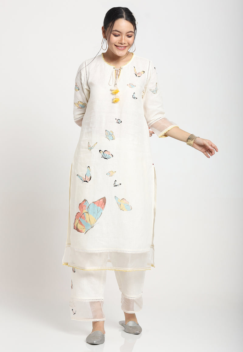 MY LITTE TUNIC AND PANT SET OFF WHITE-Kurta Set-KAVERi