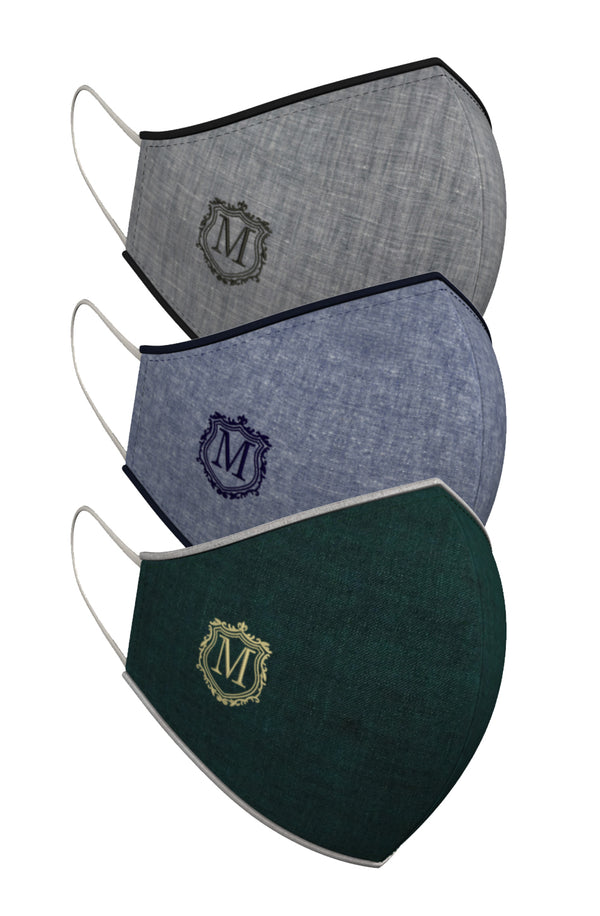 MONOGRAM CREST | Set of 3-Masks-KAVERi
