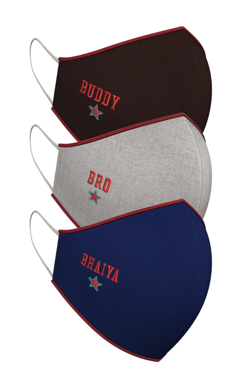 BUDDY. BHAIYA. BRO | Set of 3-Masks-KAVERi
