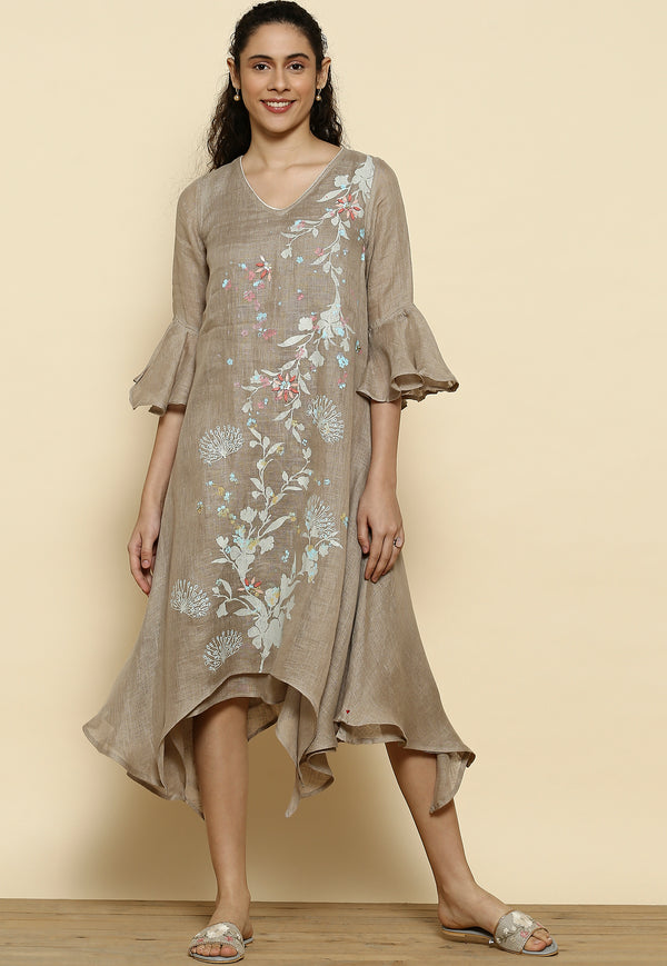 Mid Night Garden Two Layered Cement Dress-Dresses-KAVERi