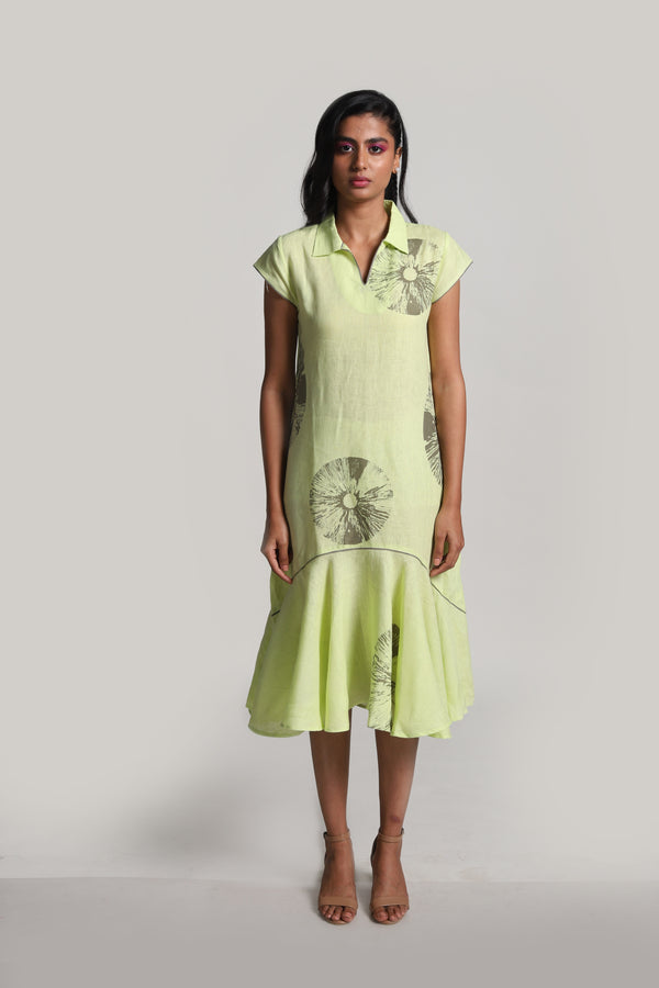 Lots of Leaves Natasha Dress Mint-Dresses-KAVERi
