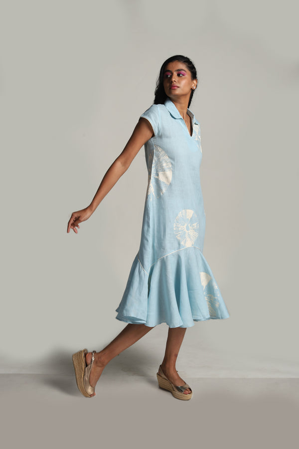 Lots of Leaves Natasha Dress Powder Blue-Dresses-KAVERi