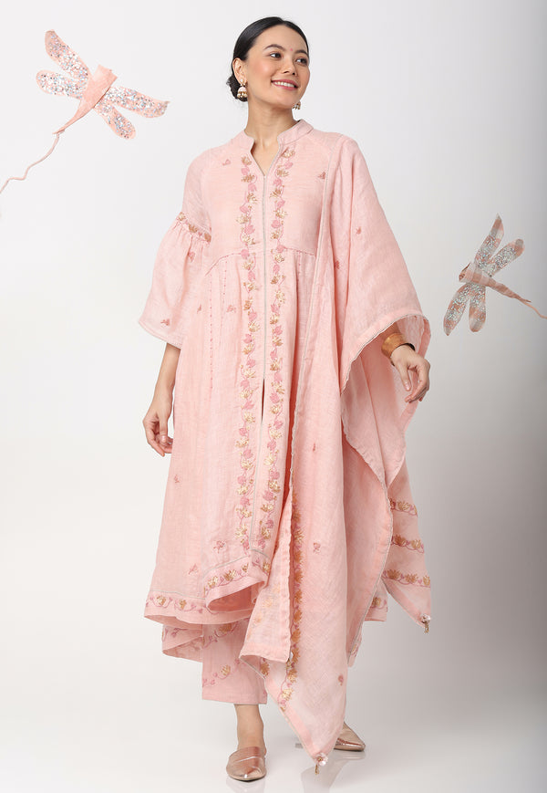 ODYSSEY KURTA + SCARF + PANTS - DUSTY ROSE-Kurta Set-KAVERi