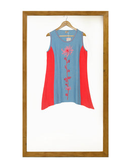 Orchid Embroidery Top- Blue-Red-Top-KAVERi