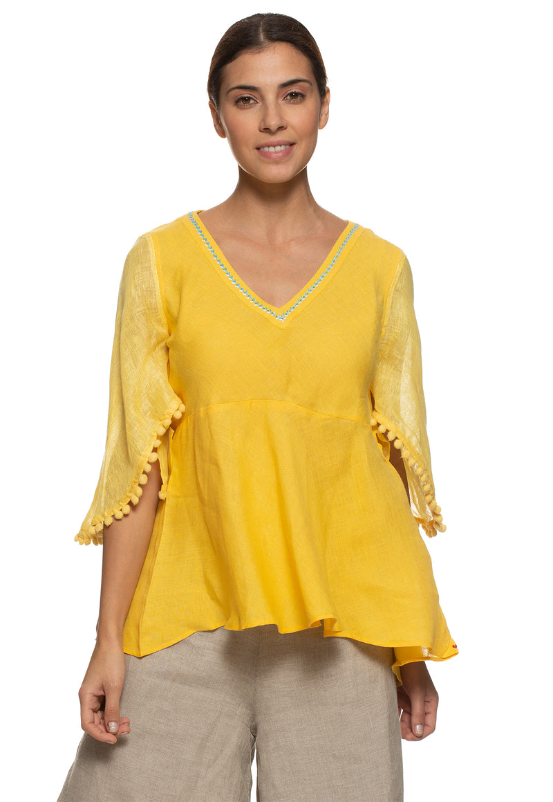 Pom Pom Butterfly Top Yellow-Top-KAVERi