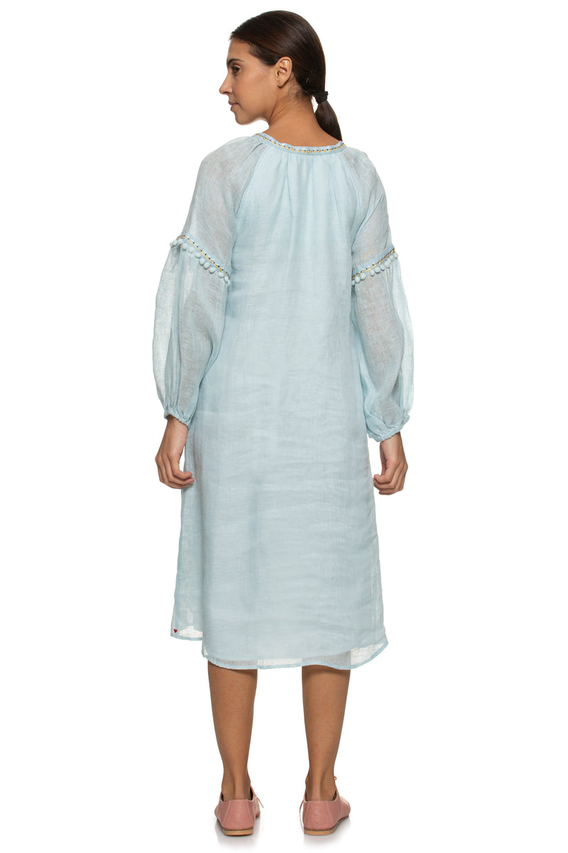 Pom Pom Peasant Dress Powder Blue-Dress-KAVERi