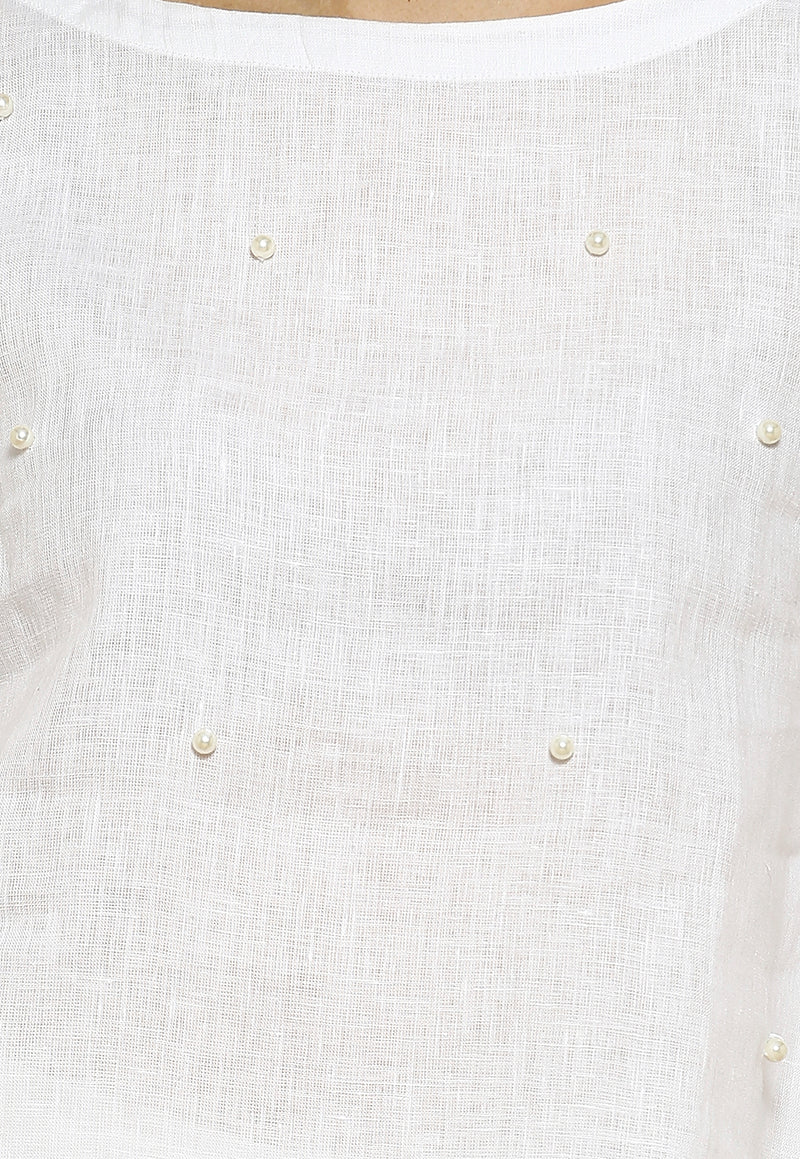 Pearls of Wisdom Mona White Top-Tops-KAVERi