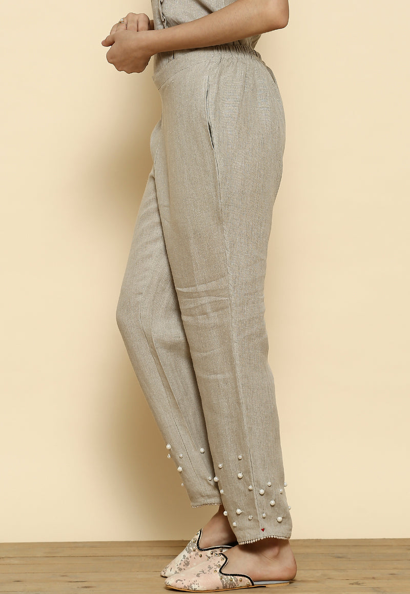 Pearls of Wisdom Pearl Natural Pant-Pants-KAVERi