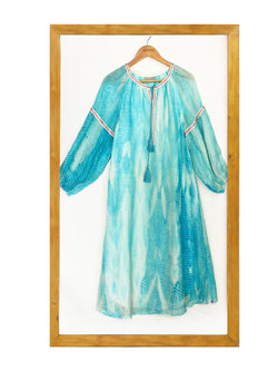 Peasant Dress Tie and Dye- Turquoise-Dress-KAVERi