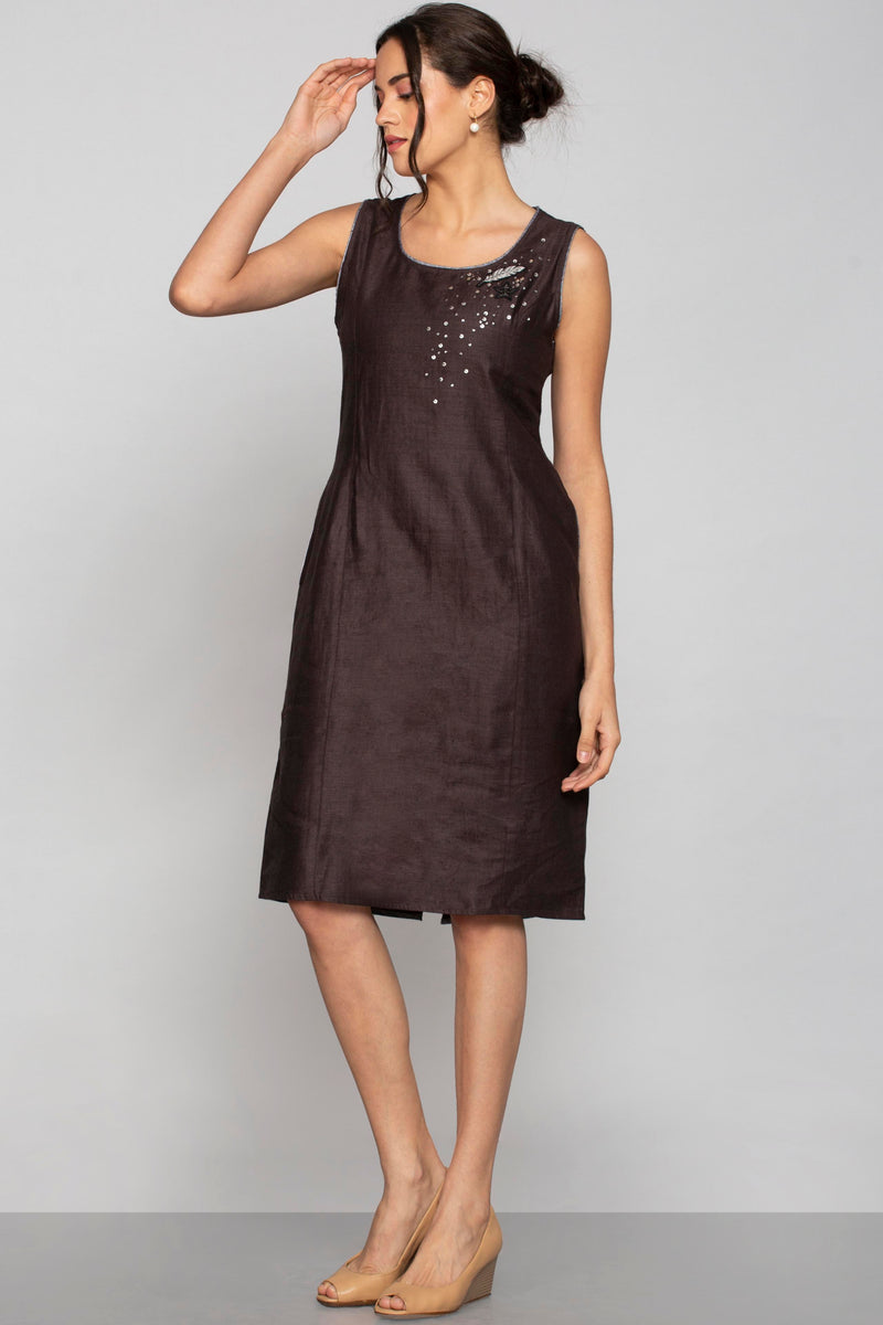 Royal Crest Dina Dress Cocoa-Dresses-KAVERi