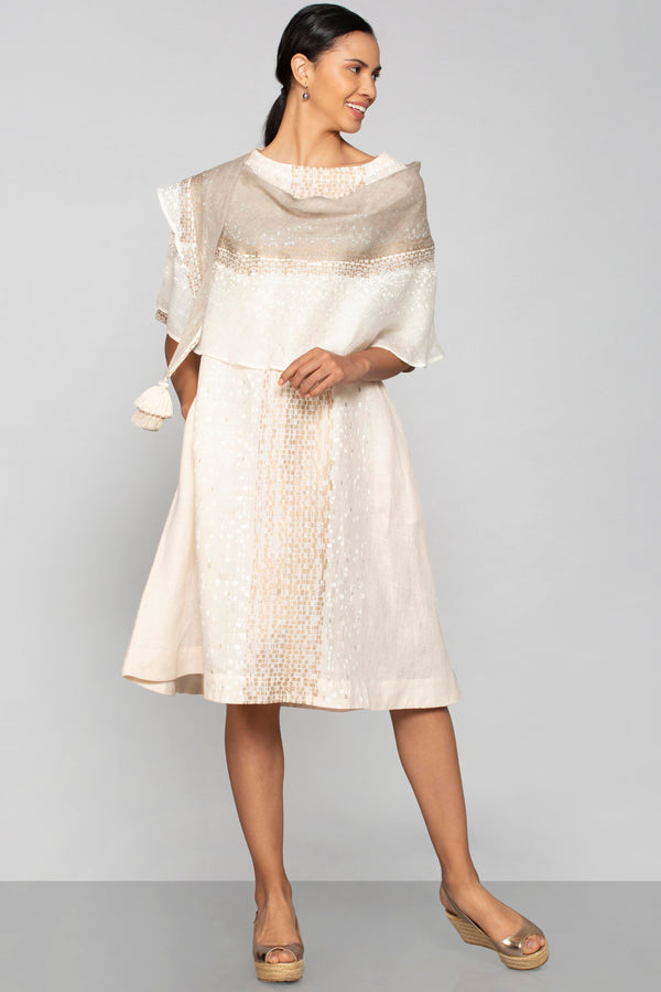 Rubix Portia Dress Off White + Natural-Dresses-KAVERi