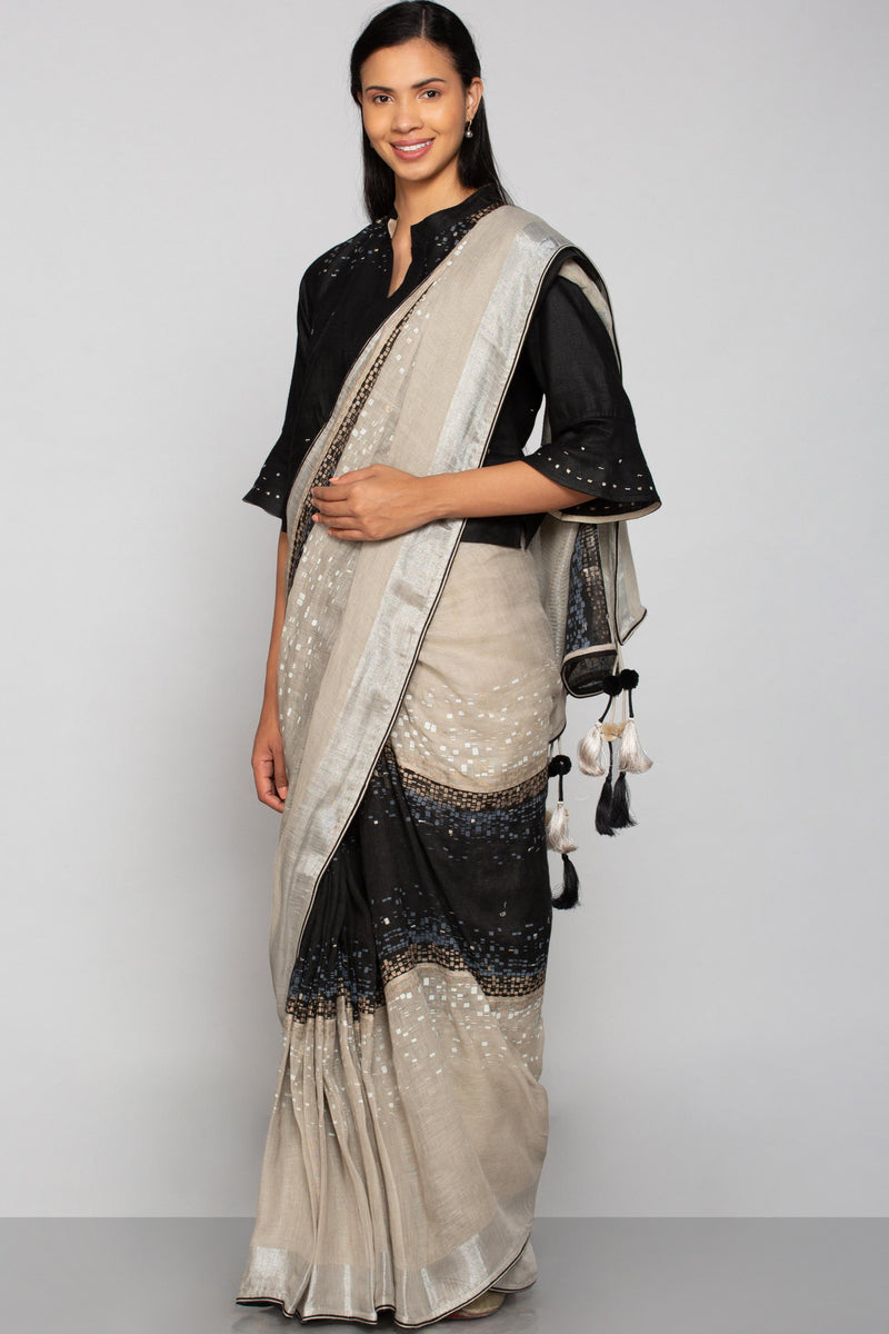 Rubix Saree Black + Natural-Sarees-KAVERi