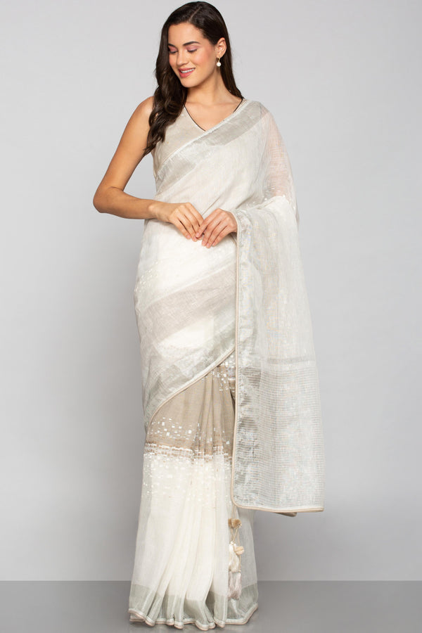 Rubix Saree Natural + Off- White-Sarees-KAVERi