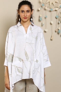 Shake The World White Square Top-Tops-KAVERi
