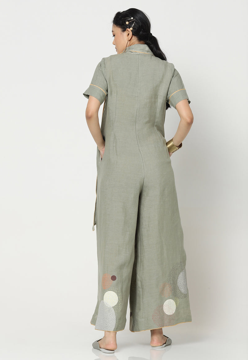 EVERYTHING STARTS FROM A DOT STEPHINE JUMPSUIT SAGE-Jumpsuits-KAVERi
