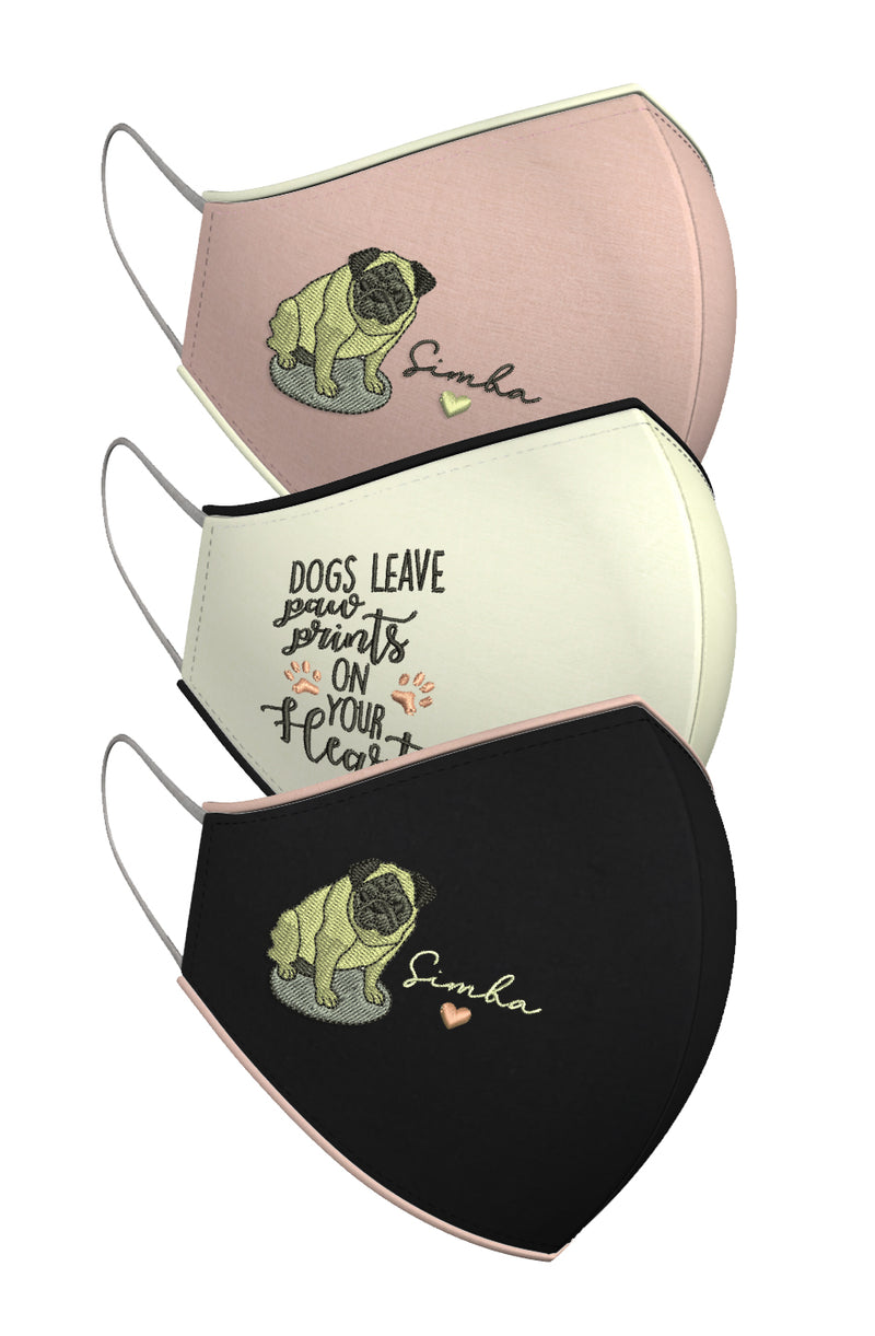 DOGS LEAVE PAW PRINTS ON YOUR HEART | Set of 3-Masks-KAVERi