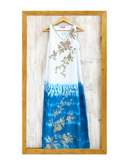 Shade of Water Bouganvilla Bamboo Dress- White Blue-Dress-KAVERi