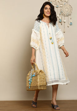 Talisman Tales Kismet Off White Dress-Dresses-KAVERi
