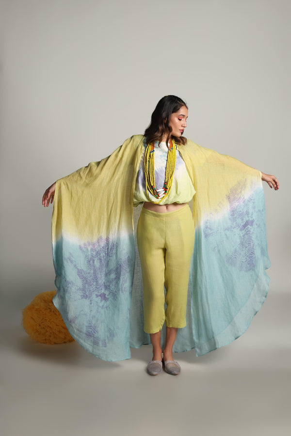 The Sun Rises But Never Sets Circle Cape Balloon Top Cigarette Pant-KAVERi