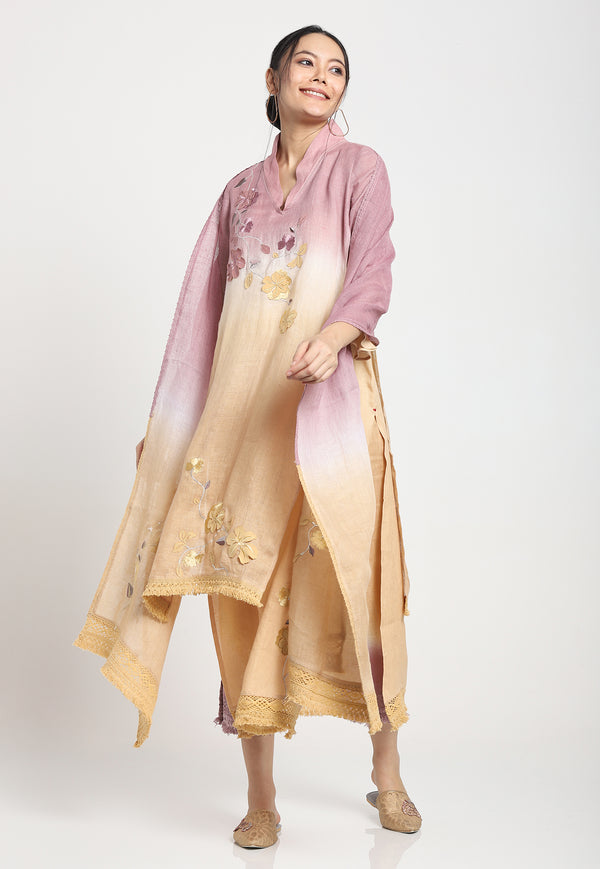 I MUST HAVE LOTS OF FLOWERS KURTA BAN BERRY-Kurta-KAVERi