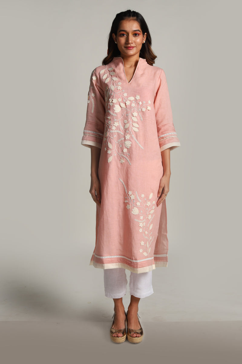 Lots of Leaves Tunic Dusty Rose-Tunics-KAVERi
