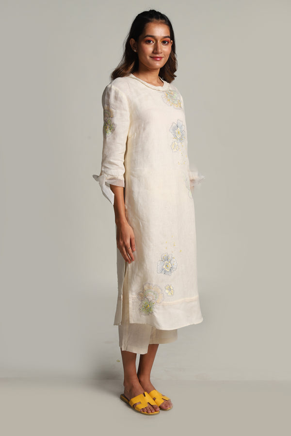 Water Lily Tunic Set - Off-White-Kurta Set-KAVERi