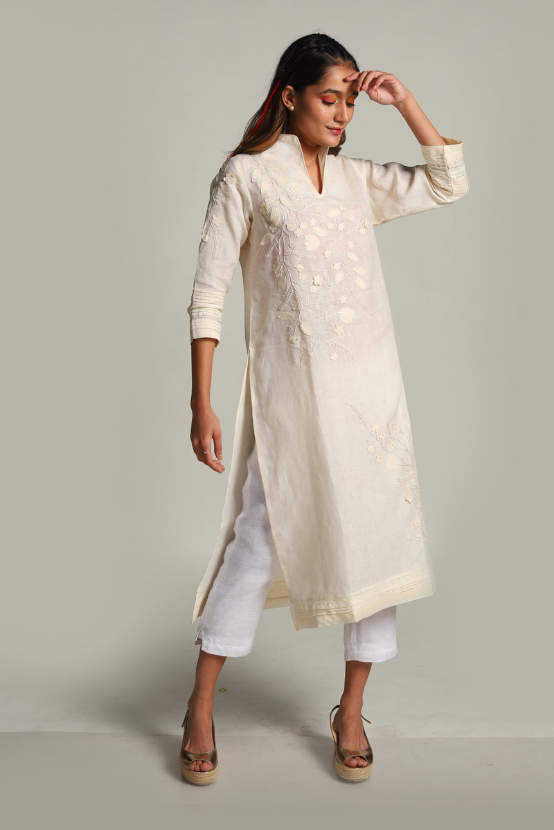 Lots of Leaves Tunic Off-White-Tunics-KAVERi