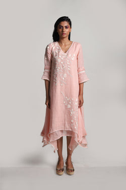 Lots of Leaves Twirl Dress Dusty Rose-Dresses-KAVERi