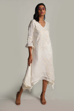 Lots of Leaves Twirl Dress Off-White-Dresses-KAVERi