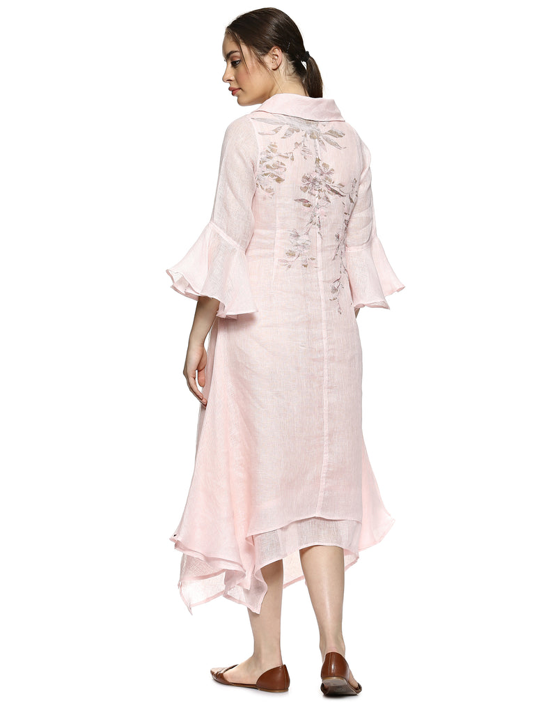 Bougainvillea Twirl Powder Pink Dress-Dresses-KAVERi