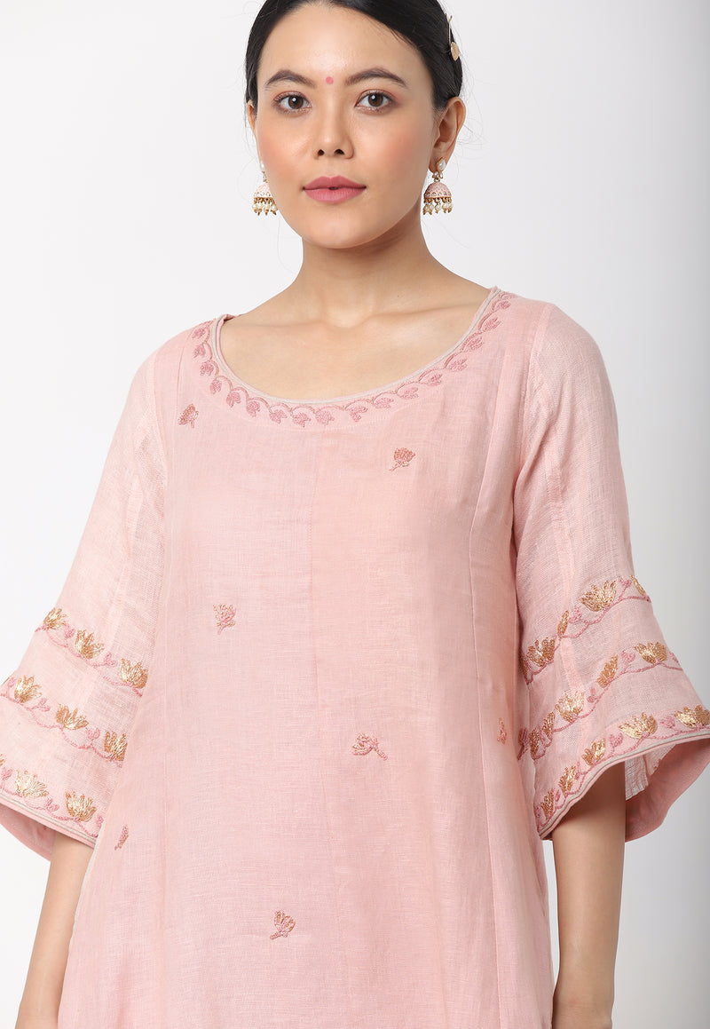 VALENTINE KURTA + SCARF +PANTS - DUSTY ROSE-Kurta Set-KAVERi