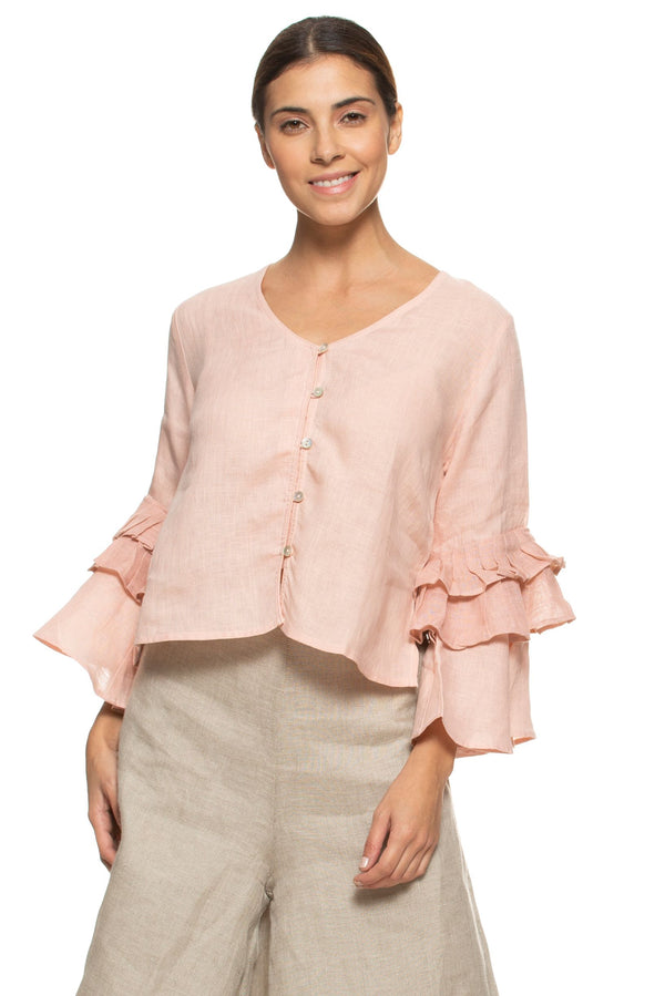 Wildflower Tan Tan Dusty Rose Top-Tops-KAVERi