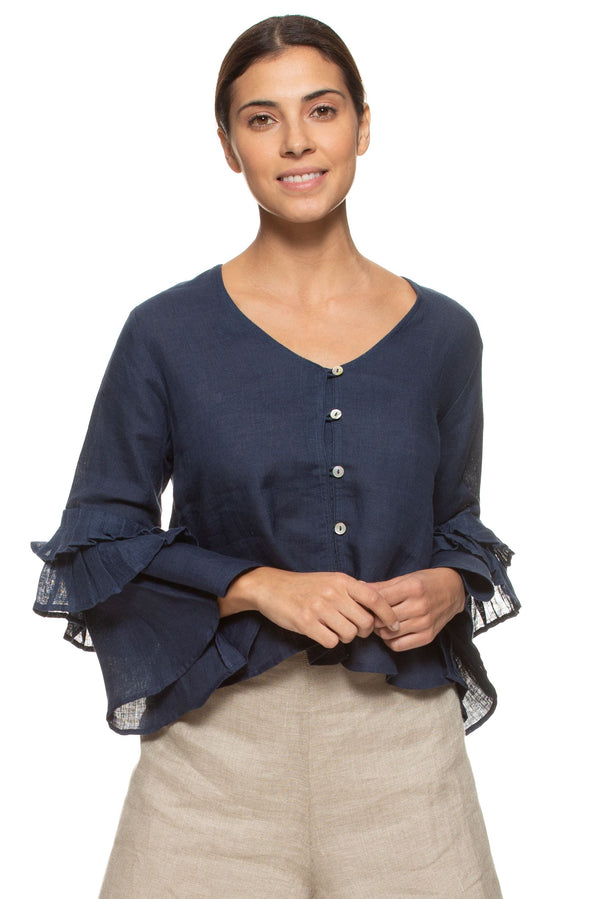 Wildflower Tan Tan Navy Top-Tops-KAVERi