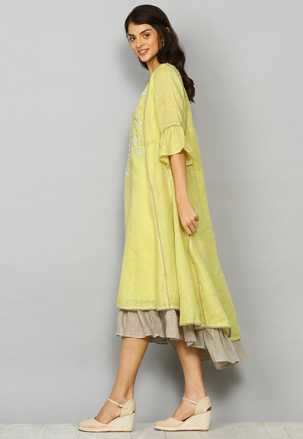Whispering Bells Ice Cream Cone Dress Canary/ Natural-Dresses-KAVERi