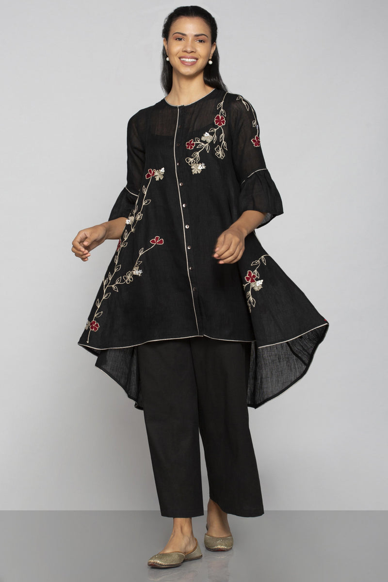 World on a String Ice Cream Cone Top Black-Tops-KAVERi
