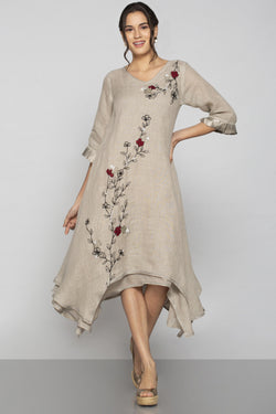 World on a String Twirl Dress Natural-Dresses-KAVERi