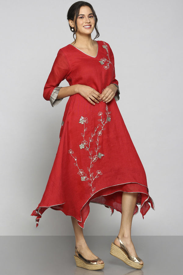 World on a String Twirl Dress Red-Dresses-KAVERi