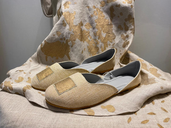 GOLD SQUARE JOOTHIS - NATURAL-Footwear-KAVERi