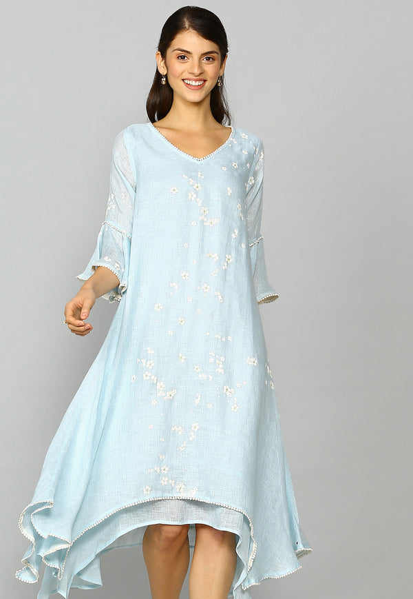 Baby's Breath Two Layered Dress Powder Blue-Dresses-KAVERi