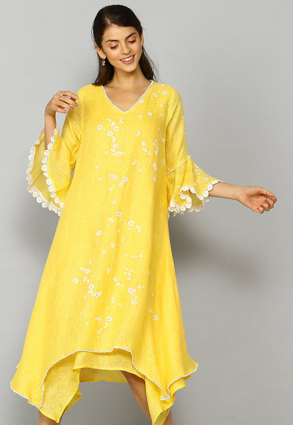 Baby's Breath Two layered Yellow Dress-Dresses-Kaveri