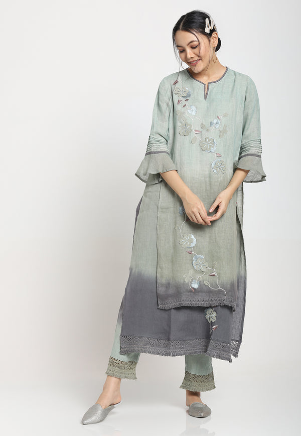 I MUST HAVE LOTS OF FLOWERS KURTA SEA FOAM-Kurta-KAVERi