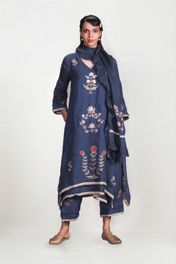 PARCHINKARI ARJUMAND FLY FREE TUNIC + PANTS + SCARF PRUSSIAN-Tunic-KAVERi