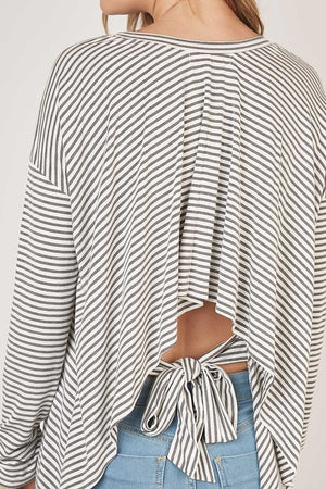 HEATHER GREY STRIPED TIE BACK TOP