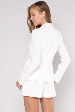 WHITE DOUBLE BREASTED JACKET WITH GOLD BUTTONS