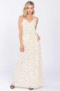 WHITE POLKA DOT V NECK MAXI