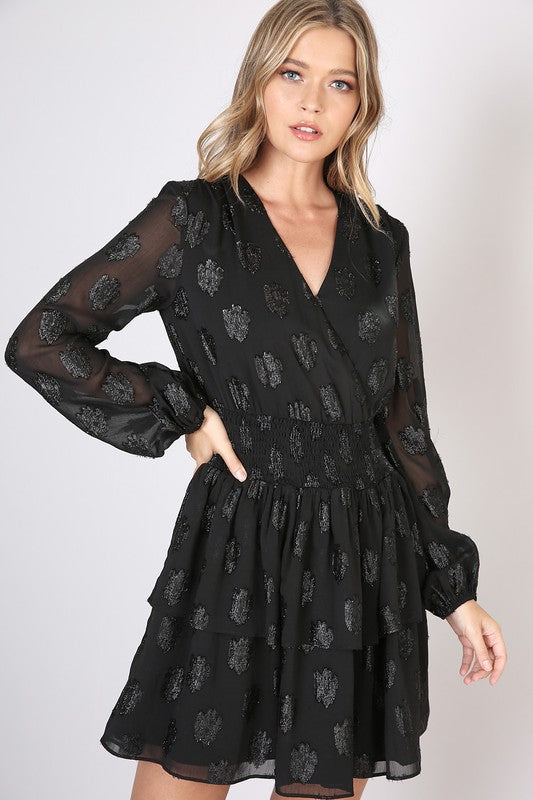 BLACK SHIMMER SPOT SMOCKED WAIST DRESS