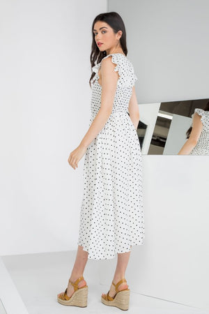 'THML' POLKA DOT SMOCKED MIDI DRESS