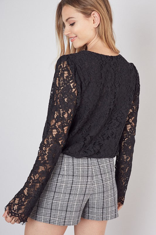 BLACK ALL OVER LACE BODYSUIT